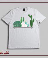 تیشرت سفید کاکتوس و گربه CF1009